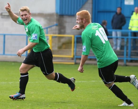 Iain Howard scores number 3 at Stalybridge  Copyright © Rick Matthews