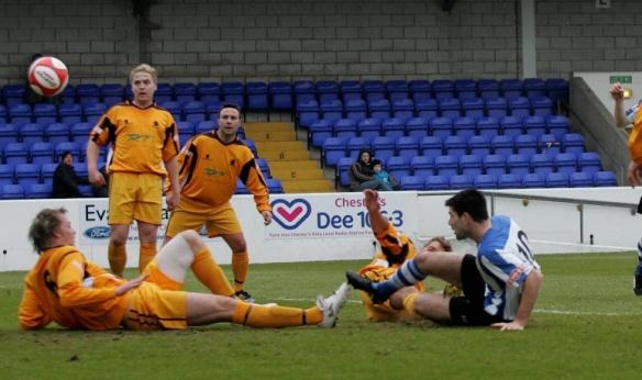 Michael Wilde on target against Ossett Albion  Copyright © Rick Matthews
