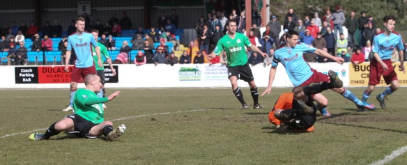 Tony Gray completes his hat-trick at Colwyn Bay Copyright © Rick Matthews